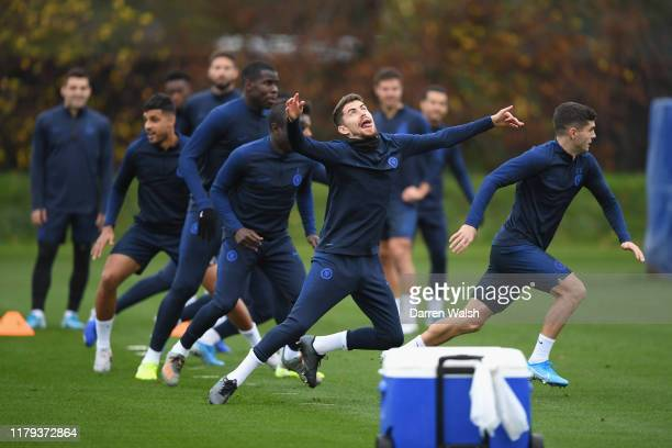 Jorginho of Chelsea during a training session at Chelsea Training Ground on November 1 2019 in Cobham England
