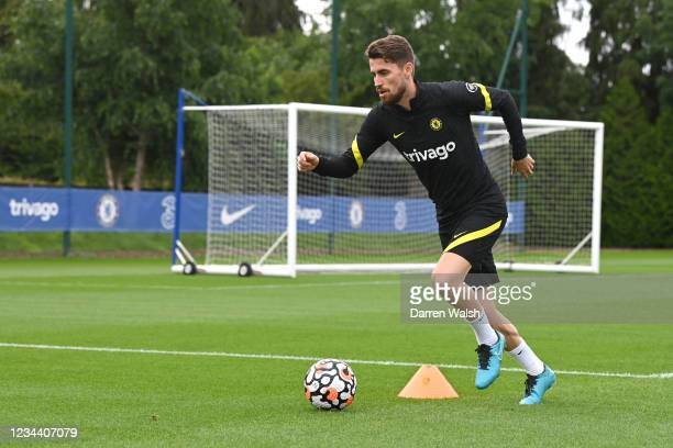 Jorginho of Chelsea during a training session at Chelsea Training Ground on August 2, 2021 in Cobham, England.