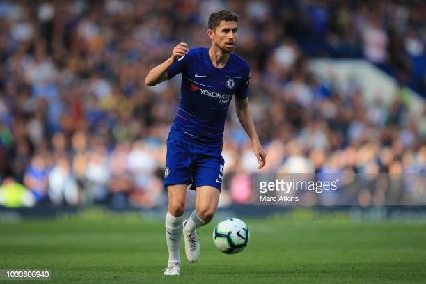 Jorginho of Chelsea during the Premier League match between Chelsea FC and Cardiff City at Stamford Bridge on September 15 2018 in London United...