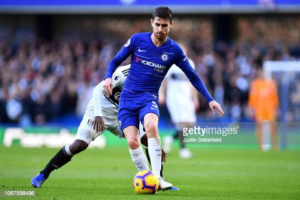 Jorginho of Chelsea during the Premier League match between Chelsea FC and Fulham FC at Stamford Bridge on December 1 2018 in London United Kingdom