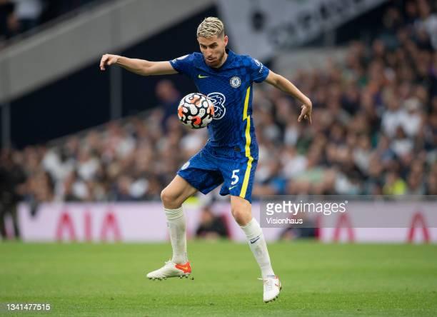Jorginho of Chelsea during the Premier League match between Tottenham Hotspur and Chelsea at Tottenham Hotspur Stadium on September 19, 2021 in...