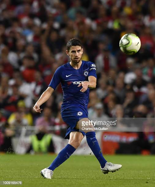 Jorginho of Chelsea during the Preseason friendly International Champions Cup game between Arsenal and Chelsea at Aviva stadium on August 1 2018 in...