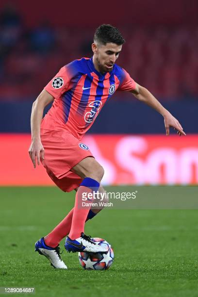 Jorginho of Chelsea during the UEFA Champions League Group E stage match between FC Sevilla and Chelsea FC at Estadio Ramon Sanchez Pizjuan on...