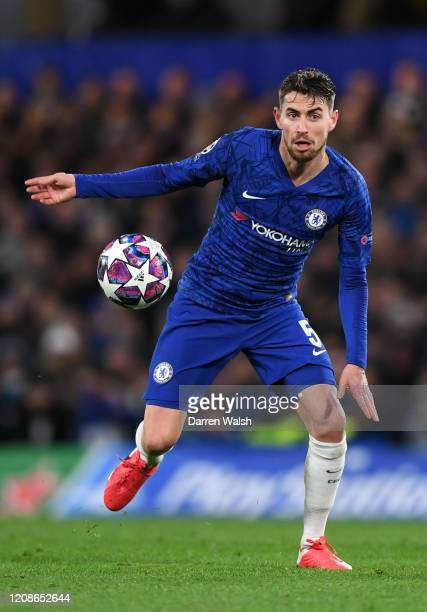 Jorginho of Chelsea during the UEFA Champions League round of 16 first leg match between Chelsea FC and FC Bayern Muenchen at Stamford Bridge on...