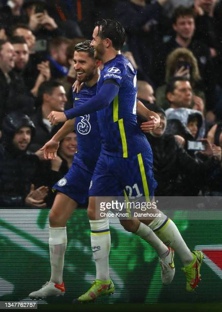 Jorginho of Chelsea FC celebrates scoring his teams fourth goal during the UEFA Champions League group H match between Chelsea FC and Malmo FF at...