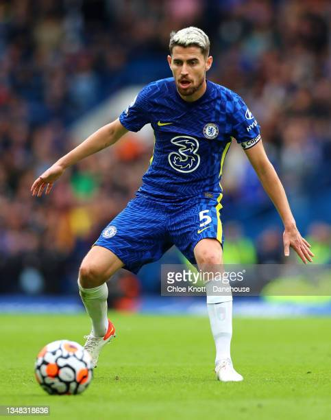 Jorginho of Chelsea FC controls the ball during the Premier League match between Chelsea and Norwich City at Stamford Bridge on October 23, 2021 in...