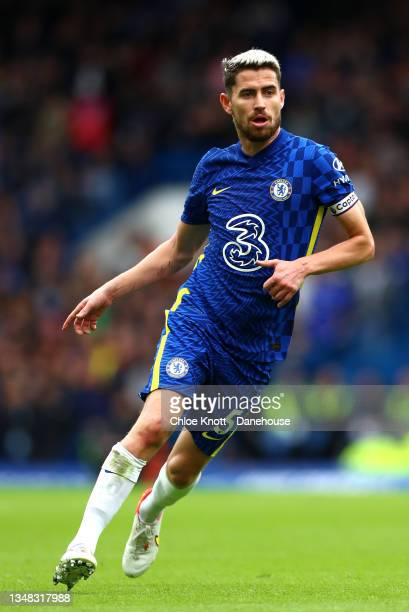 Jorginho of Chelsea FC during the Premier League match between Chelsea and Norwich City at Stamford Bridge on October 23, 2021 in London, England.