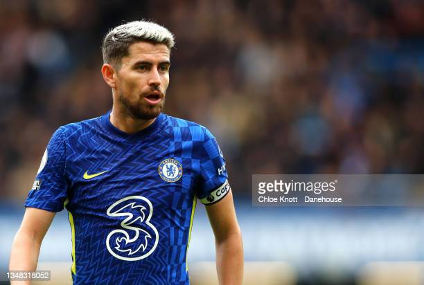 Jorginho of Chelsea FC looks on during the Premier League match between Chelsea and Norwich City at Stamford Bridge on October 23, 2021 in London,...
