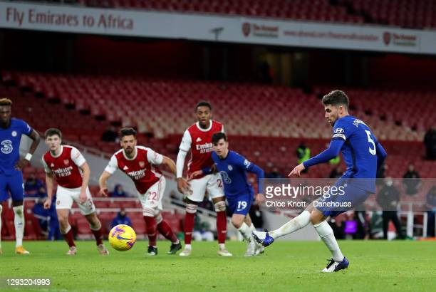 Jorginho of Chelsea FC misses a penalty for his team during the Premier League match between Arsenal and Chelsea at Emirates Stadium on December 26,...