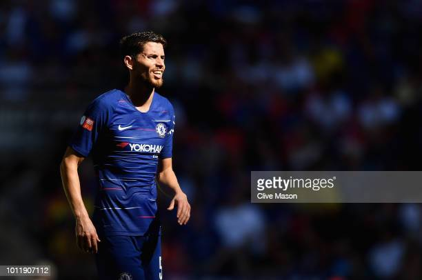 Jorginho of Chelsea in action during the FA Community Shield match between Manchester City and Chelsea at Wembley Stadium on August 5 2018 in London...