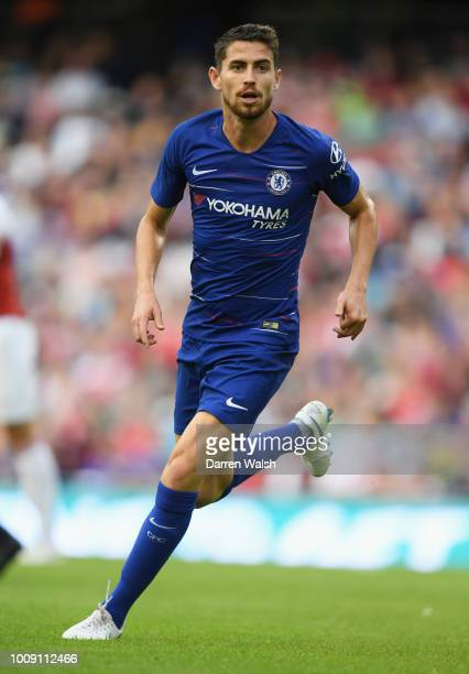 Jorginho of Chelsea in action during the International Champions Cup 2018 match between Arsenal and Chelsea at the Aviva Stadium on August 1 2018 in...