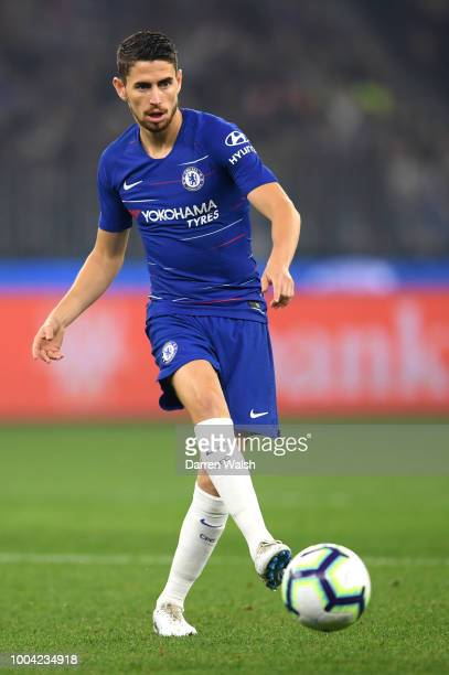 Jorginho of Chelsea in action during the international friendly between Chelsea FC and Perth Glory at Optus Stadium on July 23 2018 in Perth Australia