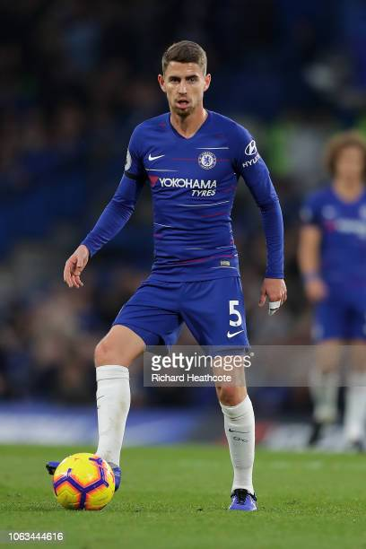 Jorginho of Chelsea in action during the Premier League match between Chelsea FC and Crystal Palace at Stamford Bridge on November 04 2018 in London...