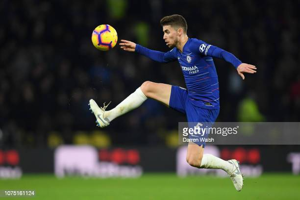 Jorginho of Chelsea in action during the Premier League match between Watford FC and Chelsea FC at Vicarage Road on December 26 2018 in Watford...