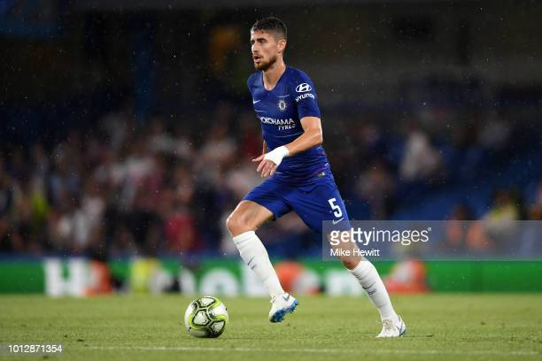 Jorginho of Chelsea in action during the preseason friendly match between Chelsea and Lyon at Stamford Bridge on August 7 2018 in London England