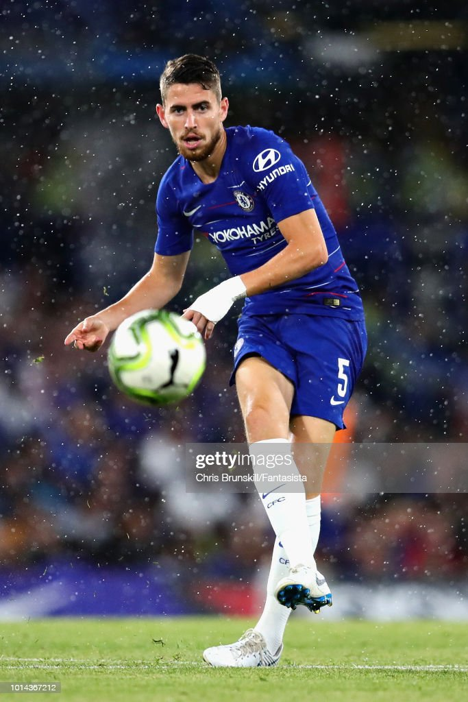 Jorginho of Chelsea in action during the pre-season friendly match between Chelsea and Olympique Lyonnais at Stamford Bridge on August 7, 2018 in London, England.