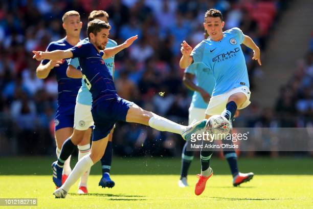 Jorginho of Chelsea in action with Phil Foden of Manchester City during the FA Community Shield between Manchester City and Chelsea at Wembley...