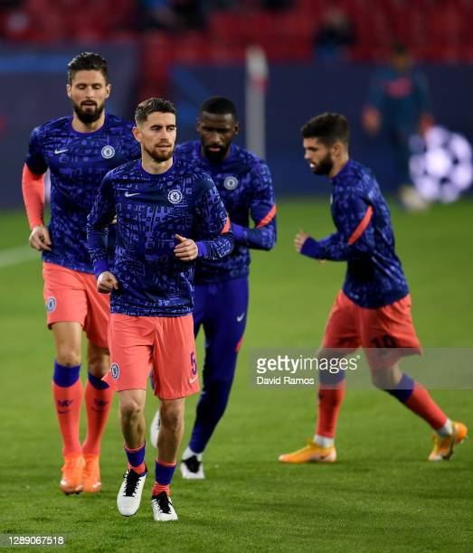 Jorginho of Chelsea in running action during the warm up during the UEFA Champions League Group E stage match between FC Sevilla and Chelsea FC at...