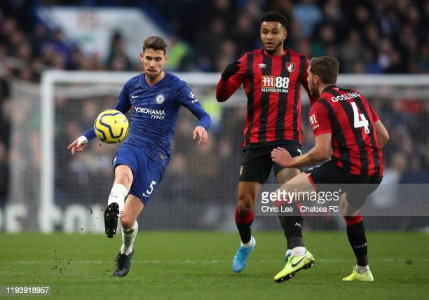 Jorginho of Chelsea is challenged by Joshua King of AFC Bournemouth and Dan Gosling of AFC Bournemouth during the Premier League match between...