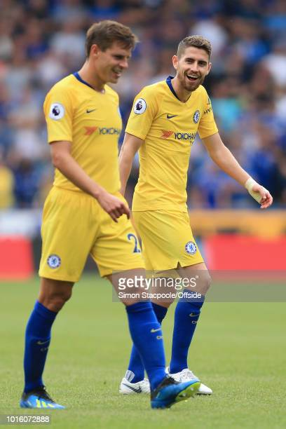 Jorginho of Chelsea laughs towards teammate Cesar Azpilicueta of Chelsea during the Premier League match between Huddersfield Town and Chelsea at the...