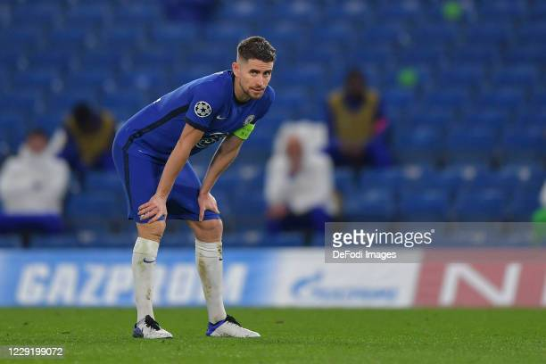Jorginho of Chelsea looks dejected during the UEFA Champions League Group E stage match between Chelsea FC and FC Sevilla at Stamford Bridge on...