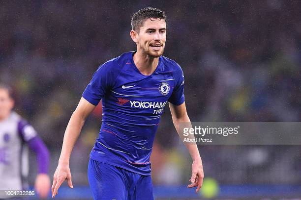 Jorginho of Chelsea looks on during the international friendly between Chelsea FC and Perth Glory at Optus Stadium on July 23 2018 in Perth Australia