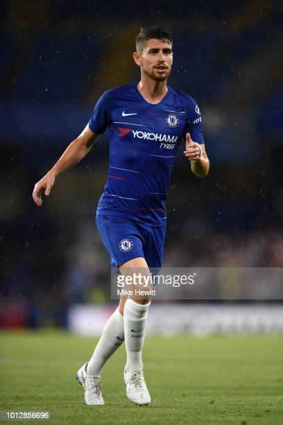 Jorginho of Chelsea looks on during the preseason friendly match between Chelsea and Lyon at Stamford Bridge on August 7 2018 in London England