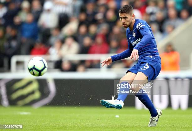 Jorginho of Chelsea makes a pass during the Premier League match between Newcastle United and Chelsea FC at St James Park on August 26 2018 in...