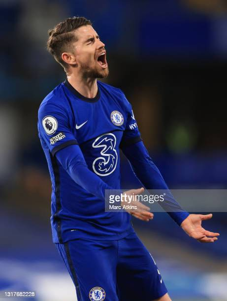 Jorginho of Chelsea reacts during the Premier League match between Chelsea and Arsenal at Stamford Bridge on May 12, 2021 in London, England....