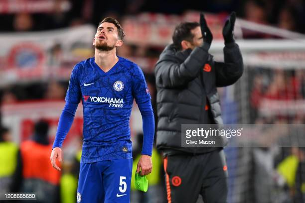 Jorginho of Chelsea reacts following defeat during the UEFA Champions League round of 16 first leg match between Chelsea FC and FC Bayern Muenchen at...