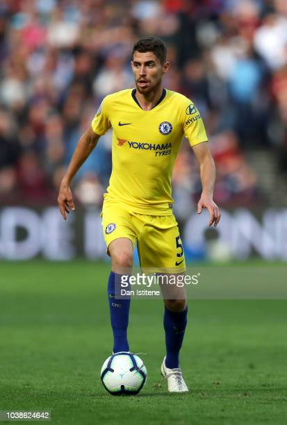 Jorginho of Chelsea runs with the ball during the Premier League match between West Ham United and Chelsea FC at London Stadium on September 23 2018...