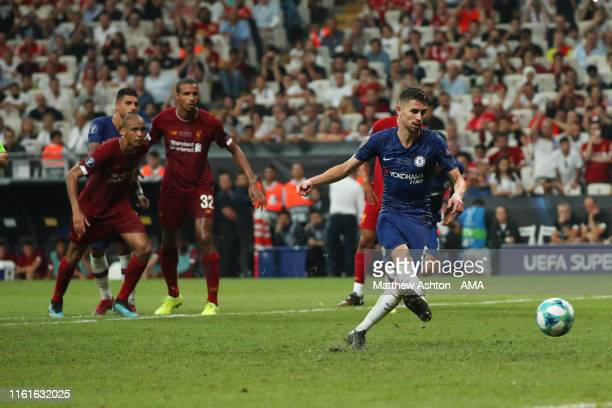 Jorginho of Chelsea scores a goal to make it 2-2 during the UEFA Super Cup Final fixture between Liverpool and Chelsea at Vodafone Park on August 14,...