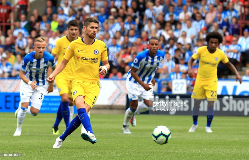 Jorginho of Chelsea scores a penalty for his team's second goal during the Premier League match between Huddersfield Town and Chelsea FC at John Smith's Stadium on August 11, 2018 in Huddersfield, United Kingdom.
