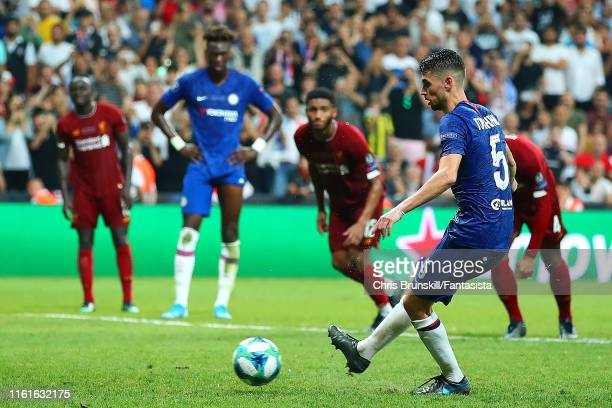 Jorginho of Chelsea scores a penalty in extra time to make it 22 during the UEFA Super Cup match between Liverpool and Chelsea at Vodafone Park on...