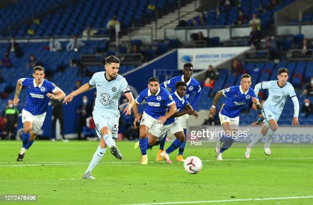 Jorginho of Chelsea scores his sides first goal during the Premier League match between Brighton & Hove Albion and Chelsea at American Express...