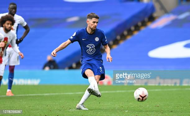 Jorginho of Chelsea scores his sides fourth goal during the Premier League match between Chelsea and Crystal Palace at Stamford Bridge on October 03,...