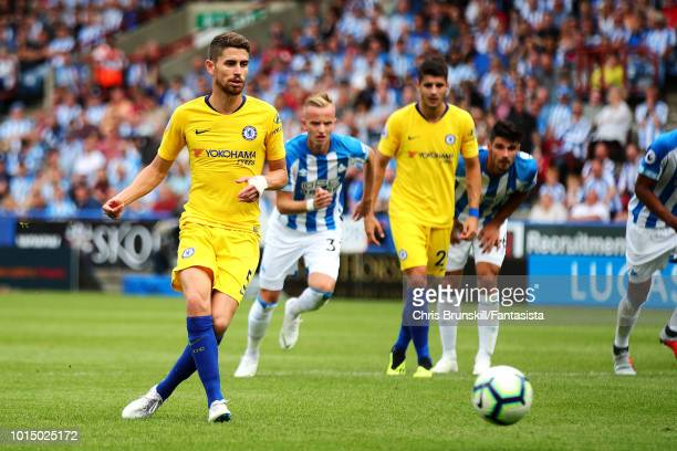 Jorginho of Chelsea scores his side's second goal from the penalty spot during the Premier League match between Huddersfield Town and Chelsea FC at...