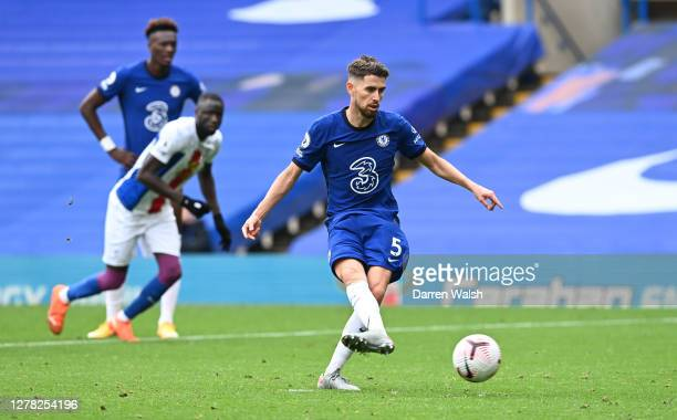 Jorginho of Chelsea scores his sides third goal during the Premier League match between Chelsea and Crystal Palace at Stamford Bridge on October 03,...