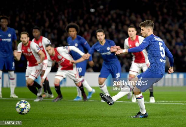 Jorginho of Chelsea scores his team's first goal during the UEFA Champions League group H match between Chelsea FC and AFC Ajax at Stamford Bridge on...