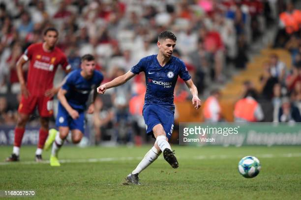 Jorginho of Chelsea scores his team's second goal from penalty spot during the UEFA Super Cup match between Liverpool and Chelsea at Vodafone Park on...