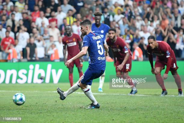 Jorginho of Chelsea scores his team's second goal from the penalty spot during the UEFA Super Cup match between Liverpool and Chelsea at Vodafone...