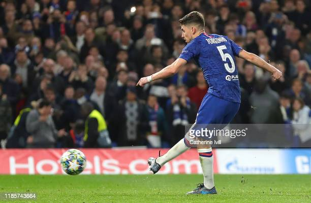 Jorginho of Chelsea scores his team's third goal during the UEFA Champions League group H match between Chelsea FC and AFC Ajax at Stamford Bridge on...