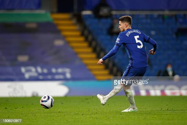 Jorginho of Chelsea scores their side's second goal from the penalty spot during the Premier League match between Chelsea and Everton at Stamford...