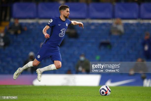 Jorginho of Chelsea scores their sides second goal from the penalty spot during the Premier League match between Chelsea and Leicester City at...