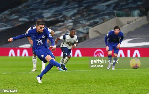 Jorginho of Chelsea scores their team's first goal from the penalty spot during the Premier League match between Tottenham Hotspur and Chelsea at...
