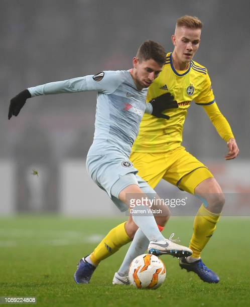 Jorginho of Chelsea shields the ball from Jasse Tuominen of FC BATE during the UEFA Europa League Group L match between FC BATE and Chelsea at...