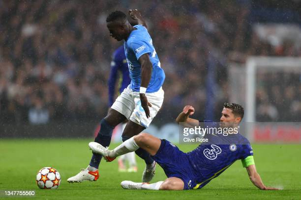 Jorginho of Chelsea tackles Innocent Bonke of Malmo FF during the UEFA Champions League group H match between Chelsea FC and Malmo FF at Stamford...
