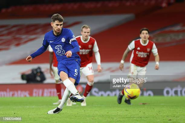 Jorginho of Chelsea takes a penalty which is saved by Bernd Leno of Arsenal during the Premier League match between Arsenal and Chelsea at Emirates...