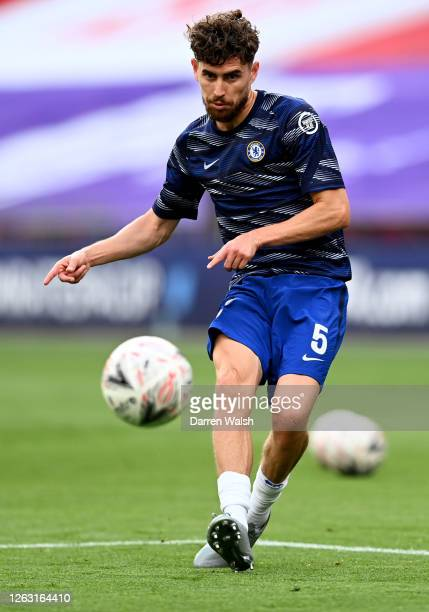 Jorginho of Chelsea warms up ahead of the Heads Up FA Cup Final match between Arsenal and Chelsea at Wembley Stadium on August 01 2020 in London...