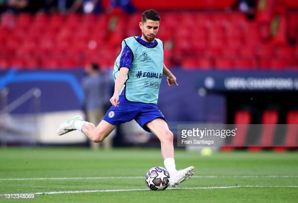 Jorginho of Chelsea warms up prior to the UEFA Champions League Quarter Final Second Leg match between Chelsea FC and FC Porto at Estadio Ramon...